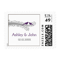 whimsy tree purple lovebirds wedding stamps