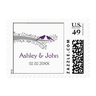 whimsy tree purple lovebirds wedding stamps