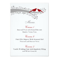 whimsy tree red lovebirds menu cards