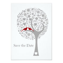 whimsy tree red lovebirds mod save the date card