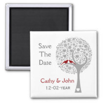 whimsy tree red lovebirds mod save the date magnet