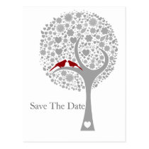 whimsy tree red lovebirds mod save the date postcard