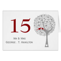 whimsy tree red lovebirds mod table numbers card