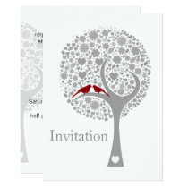whimsy tree red lovebirds mod wedding invites