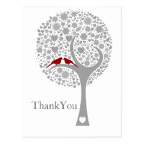 whimsy tree red lovebirds mod wedding Thank You Postcard