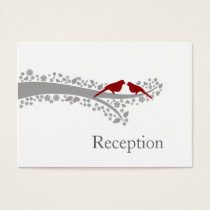 whimsy tree red lovebirds Reception Cards