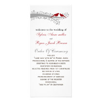 whimsy tree red lovebirds Wedding program