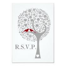 whimsy tree red lovebirds wedding rsvp 3.5 x 5 card