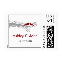 whimsy tree red lovebirds wedding stamps