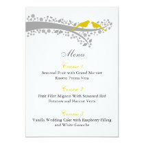 whimsy tree yellow lovebirds menu cards