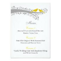 whimsy tree yellow lovebirds menu cards