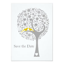 whimsy tree yellow lovebirds mod save the date card