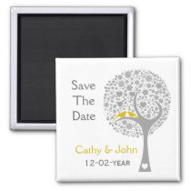 whimsy tree yellow lovebirds mod save the date magnet