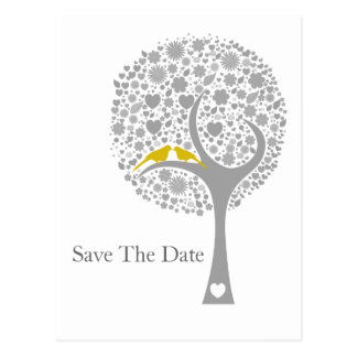 whimsy tree yellow lovebirds mod save the date post cards