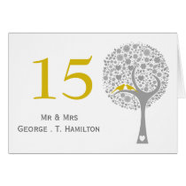 whimsy tree yellow lovebirds mod table numbers card