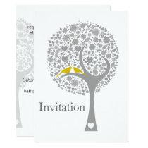 whimsy tree yellow lovebirds mod wedding invites