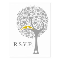whimsy tree yellow lovebirds mod wedding rsvp postcard