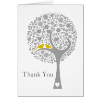 whimsy tree yellow lovebirds mod wedding Thank You Card