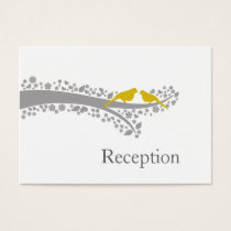 whimsy tree yellow lovebirds Reception Cards