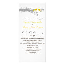 whimsy tree yellow lovebirds Wedding program
