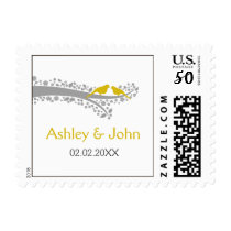 whimsy tree yellow lovebirds wedding stamps