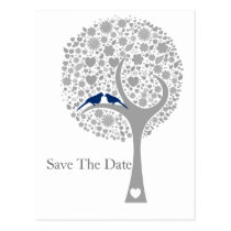 whimsy treenavy blue lovebirds mod save the date postcard