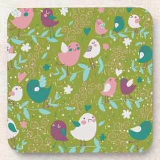 Whimsy Tweety Birds on Vines Beverage Coaster