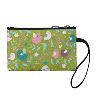 Whimsy Tweety Birds on Vines Coin Wallet