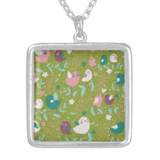 Whimsy Tweety Birds on Vines Square Pendant Necklace