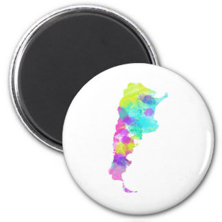 Whimsy Watercolor Argentina Map 2 Inch Round Magnet