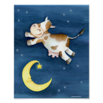 Whimsy watercolor art cow jumping over the moon poster