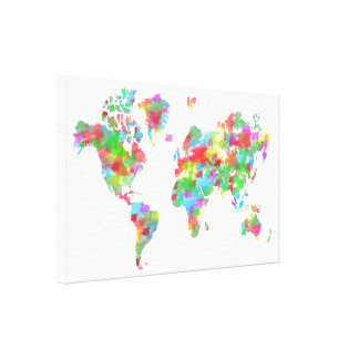 Whimsy Watercolor Planisphere - Map of the World Canvas Print