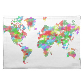 Whimsy Watercolor Planisphere - Map of the World Cloth Placemat