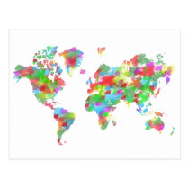 artsprojekt, map, world, planisphere, continents, countries, travel, artistic, splash, watercolor, whimsical, creative, illustration, regions, home, decor, classroom, teacher, planet, chart, geography, cartography, whole, painting, Cartão postal com design gráfico personalizado