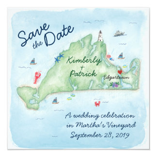 Whimsy Watercolor Wedding Map of Marthas Vineyard Card