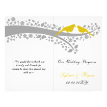 whimsy yellow lovebirds  folded Wedding program