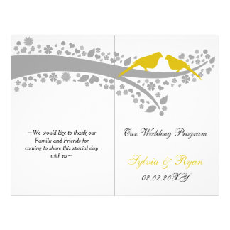 whimsy yellow lovebirds  folded Wedding program