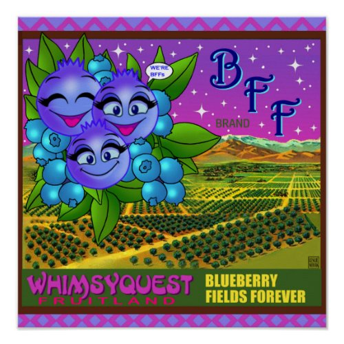 WhimsyQuest POSTER :BlueBerry Fields Forever