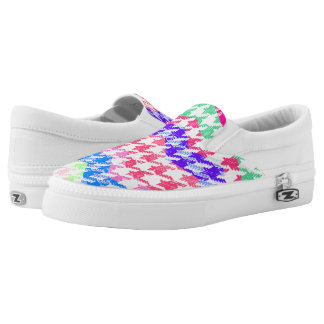 Whimzical colorful houndstooth printed shoes