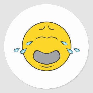 Whining Crying Smiley Face Classic Round Sticker