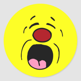 Whining Smiley Face Grumpey Classic Round Sticker