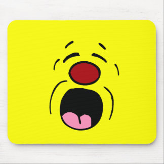 Whining Smiley Face Grumpey Mouse Pad