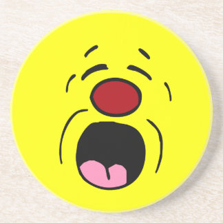 Whining Smiley Face Grumpey Sandstone Coaster