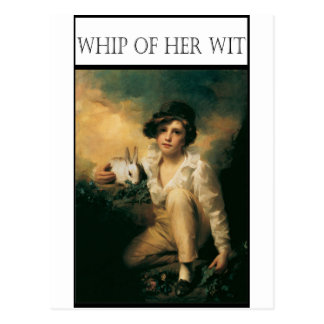 WHIP OF HER WIT -Child with rabbit Postcard