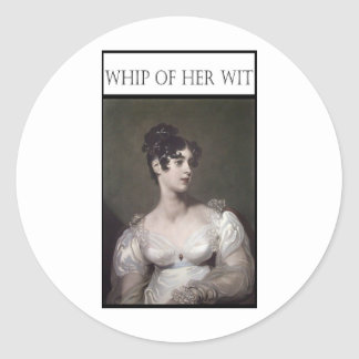 WHIP OF HER WIT CLASSIC ROUND STICKER