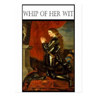 WHIP OF HER WIT- Joan de Arc Postcard
