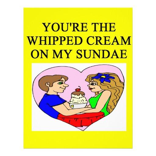 """whipped cream ice cream sundae lover 8.5"""" x 11"""" flyer"""