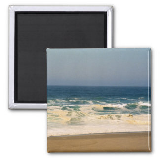 Whipped Cream Waves Hit Beach 2 Inch Square Magnet
