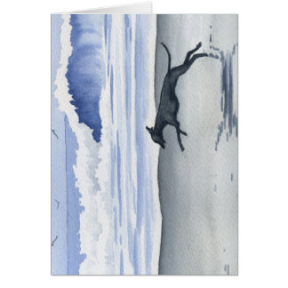 Whippet At The Beach Card