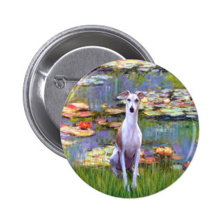 Whippet (brown-white) - Lilies 2 2 Inch Round Button